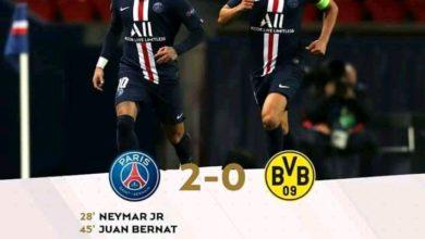 Photo of FT: Paris Saint-Germain 2-0 Borussia Dortmund, Neymar Goal Helps PSG Progress To Quarter Final On 3-2 Aggregate (Video Highlight)