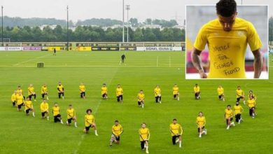 Photo of Borussia Dortmund Stars Join Jadon Sancho And Take A Knee To Support Black Lives Matter Movement (Photos)