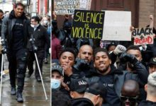 Photo of Injured Anthony Joshua Joins Black Lives Matter Protest On Crutches (Photos)