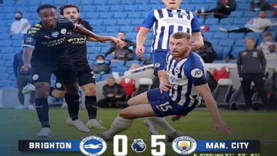 Photo of FT: Brighton 0-5 Manchester City, Raheem Sterling Bags Hattrick (Match Highlight)